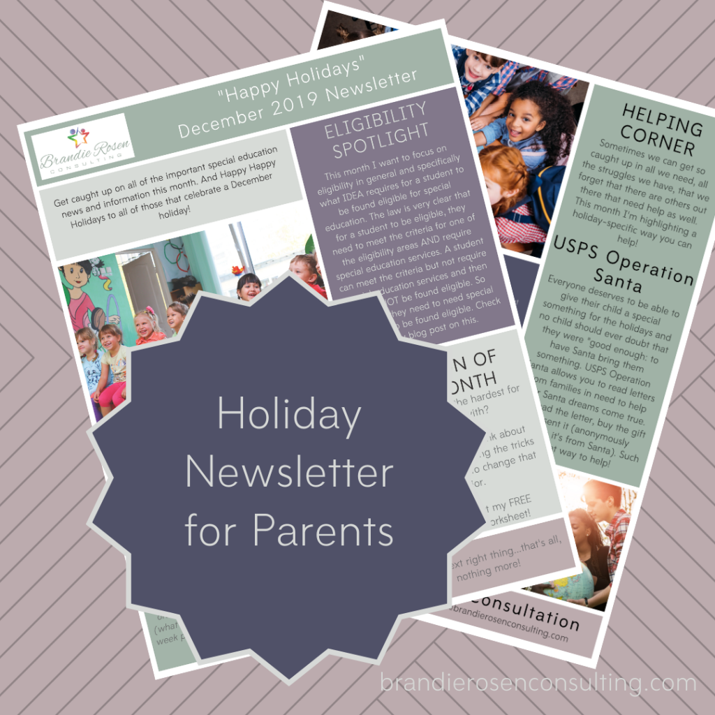holiday newsletter for parents